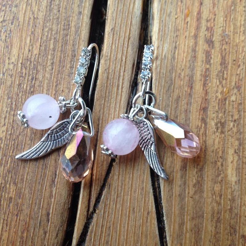 népszerű márka olcsón új termék Rózsakvarc fülbevaló - Angyal Kristály